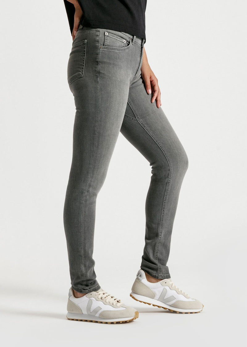 womens grey mid rise skinny fit stretch jeans side