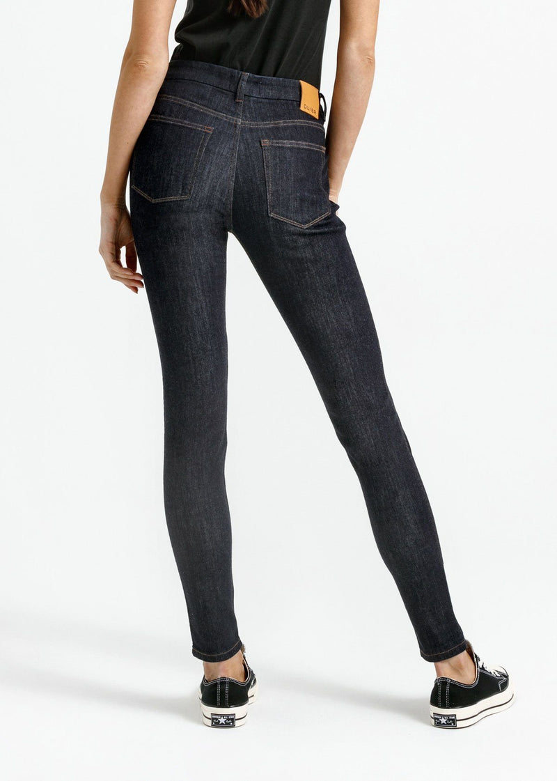 women's dark blue skinny fit mid rise stretch jeans back