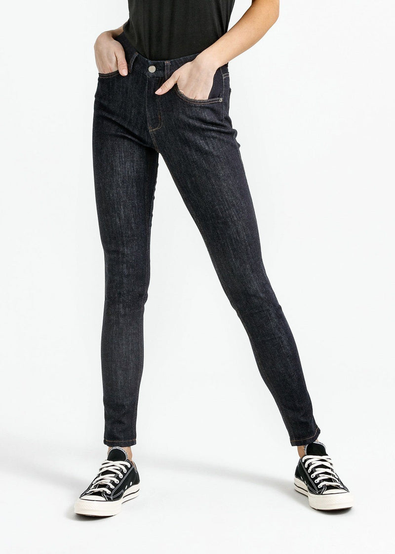 women's dark blue skinny fit mid rise stretch jeans front