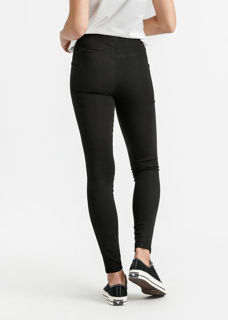 womens black mid rise skinny fit stretch pants back