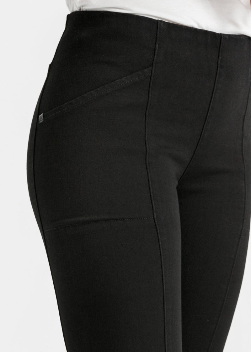 womens black mid rise skinny fit stretch pants waist detail