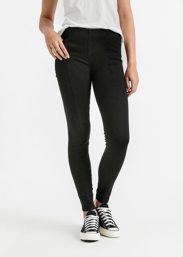 womens black mid rise skinny fit stretch pants front