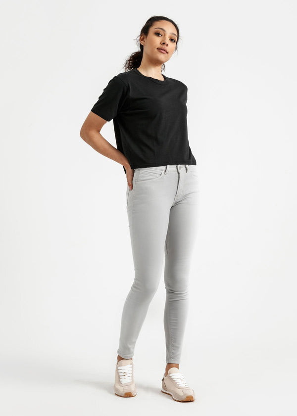 Women's black lightweight soft crop tshirt full body