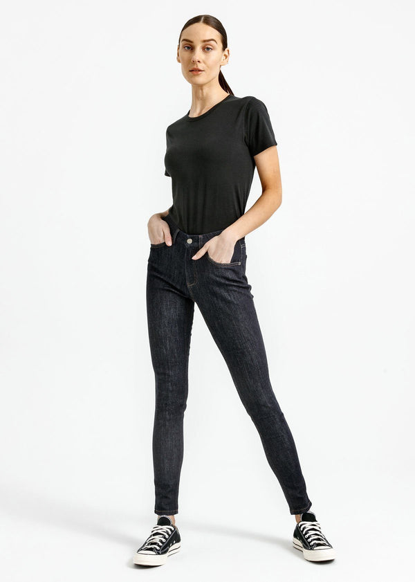 Women's black lightweight soft crew full body
