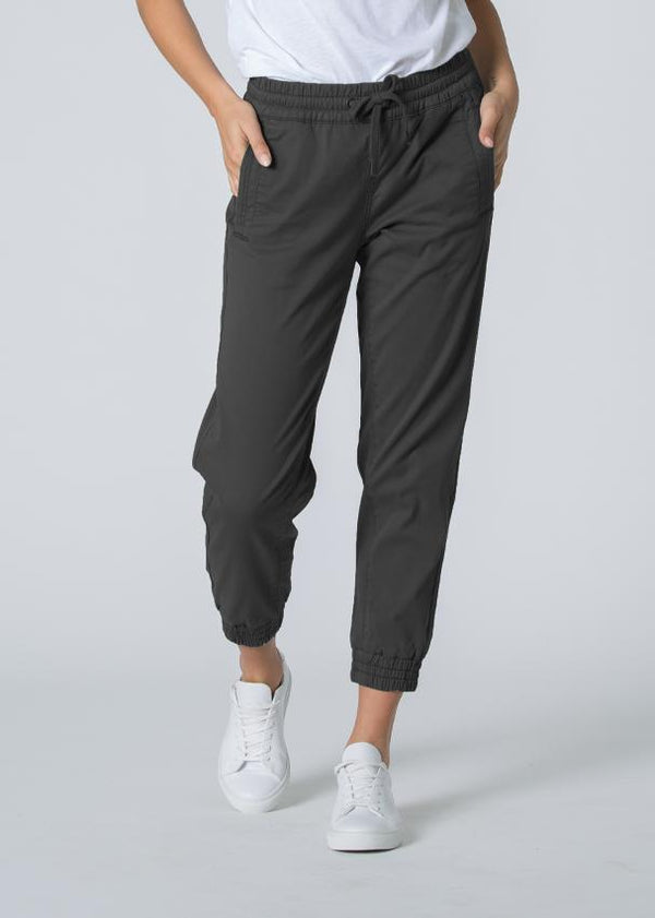 Woman wearing grey Athletic Jogger close-up