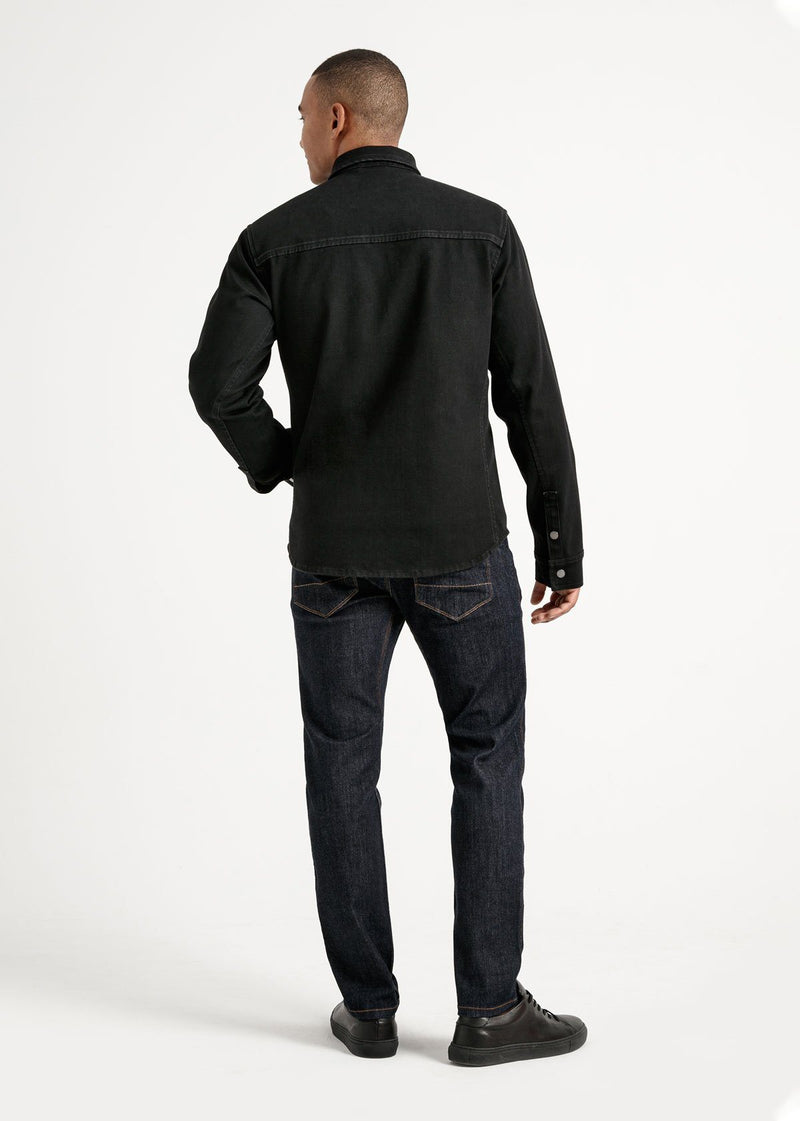 Waterproof black 3-in-1 stretch denim jacket full body back