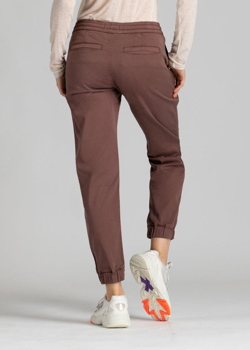 Woman wearing brown Athletic Jogger back