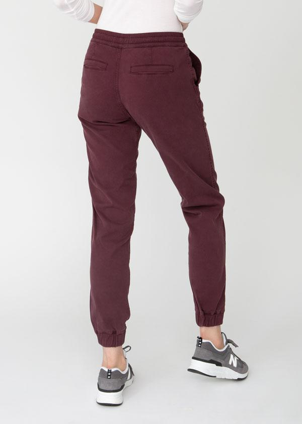 Woman wearing maroon Athletic Jogger back