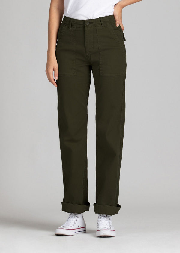 Womens lightweight utility pant dark brown front