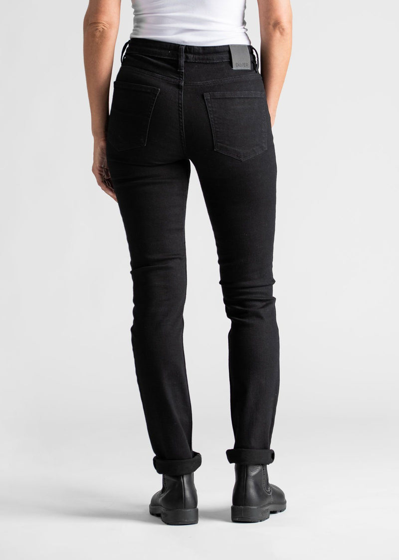 Womens black water resistant stretch jeans back