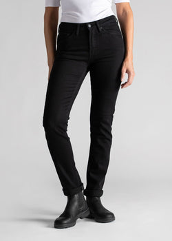 Womens black water resistant stretch jeans front