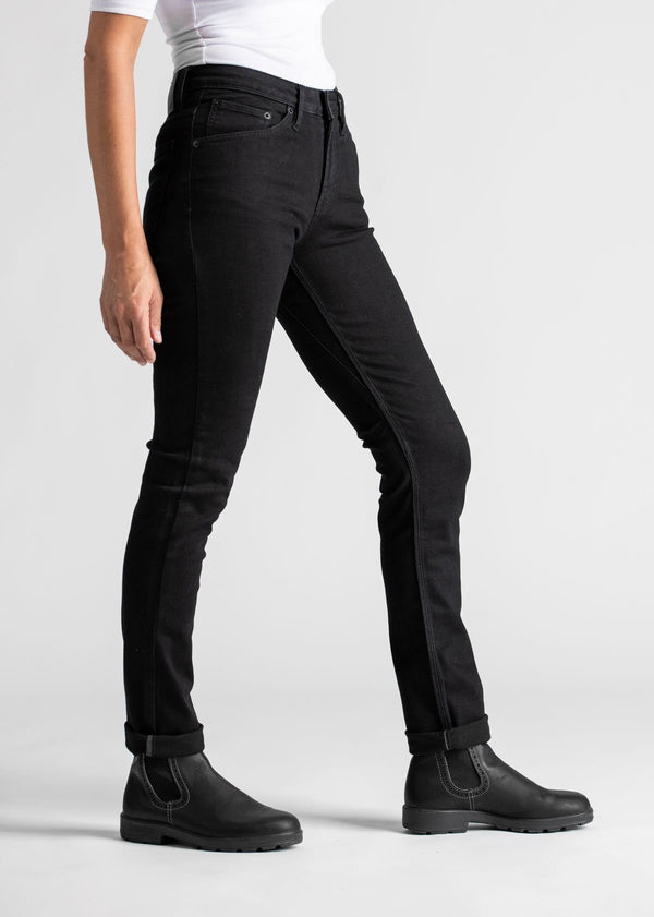 Womens black water resistant stretch jeans side