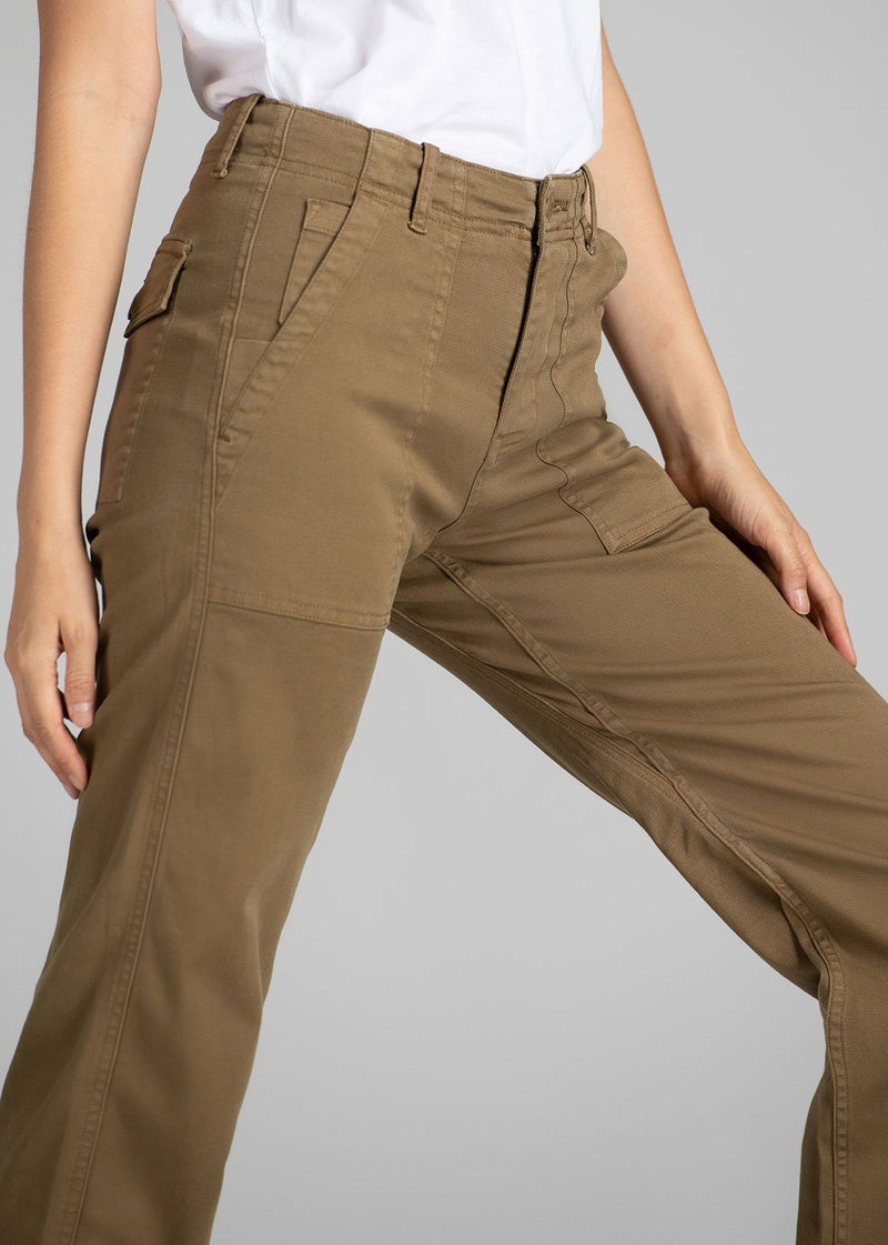 Womens lightweight utility pant brown detail