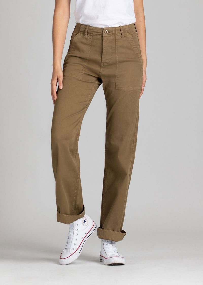 Womens lightweight utility pant brown front
