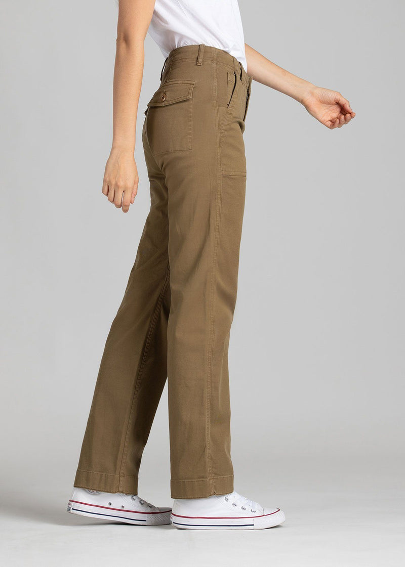 Womens lightweight utility pant brown side