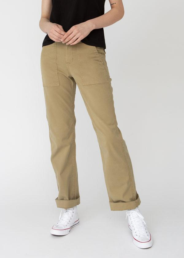 Womens lightweight utility pant khaki front