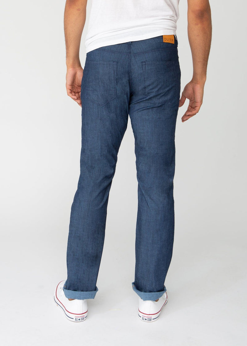 blue straight fit lightweight summer jeans back