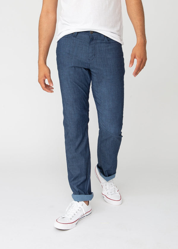 blue straight fit lightweight summer jeans front