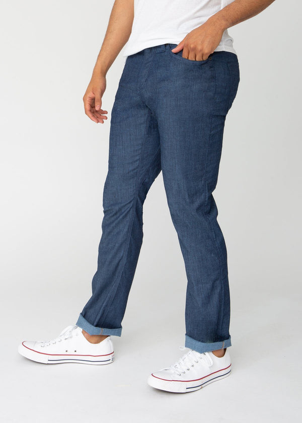 blue straight fit lightweight summer jeans side
