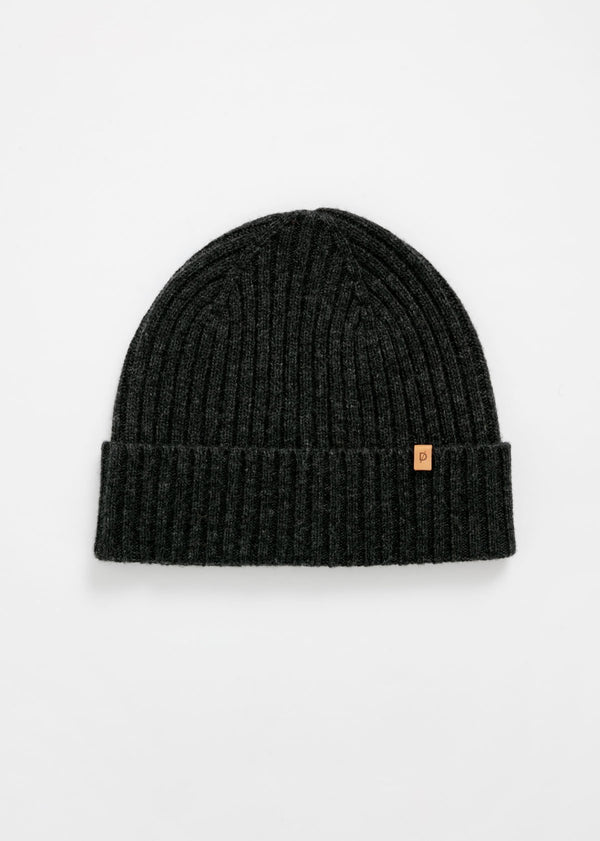 merino rib knit hat in charcoal grey flat lay