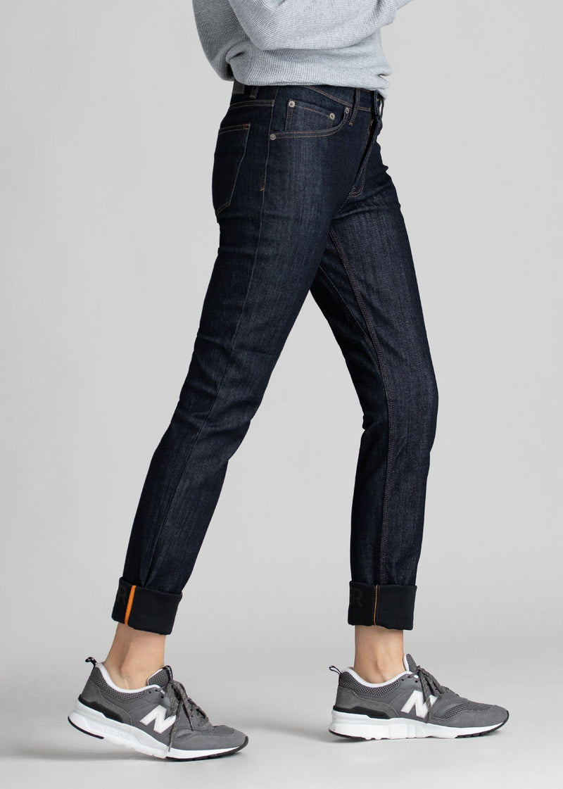 dark blue womens slim straight waterproof and windproof stretch jeans side