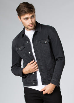 dark wash stretch denim jacket front