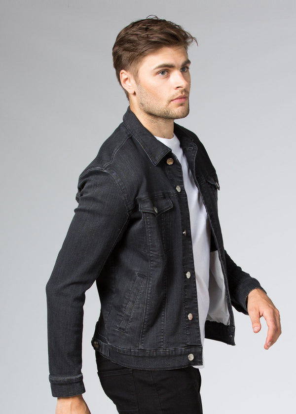 dark wash stretch denim jacket side