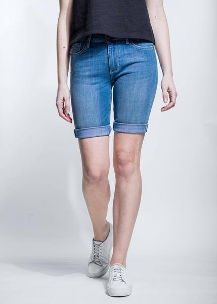 light wash slim fit performance denim short front
