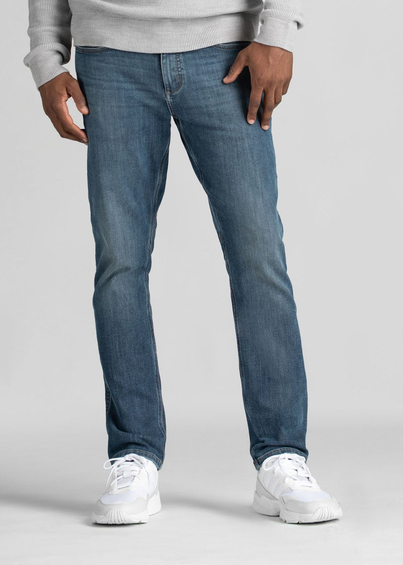light wash relaxed fit warm stretch jeans front
