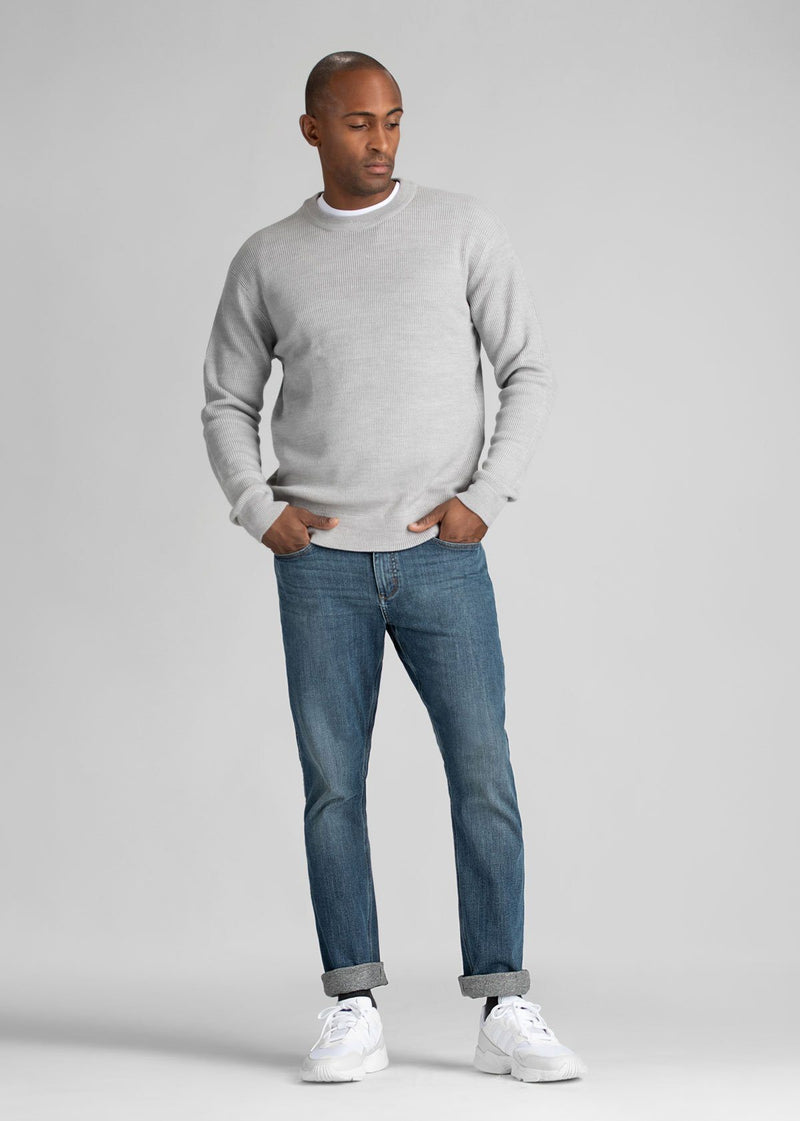 light wash relaxed fit warm stretch jeans full body
