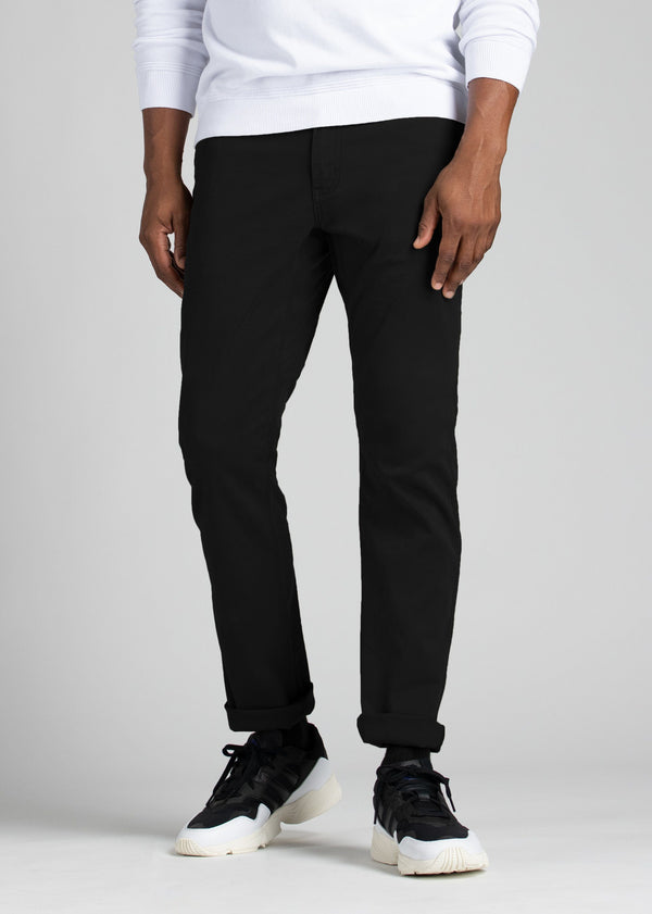 mens lightweight black slim fit pants front