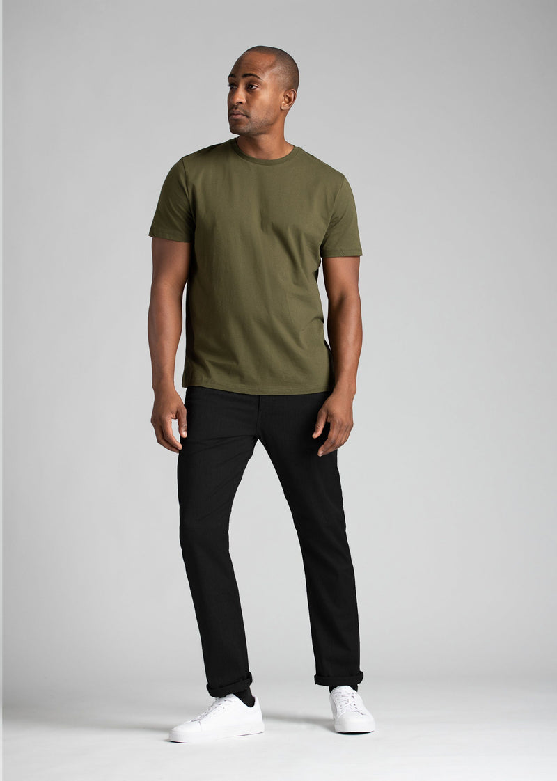 mens lightweight black slim fit pants full body with green shirt