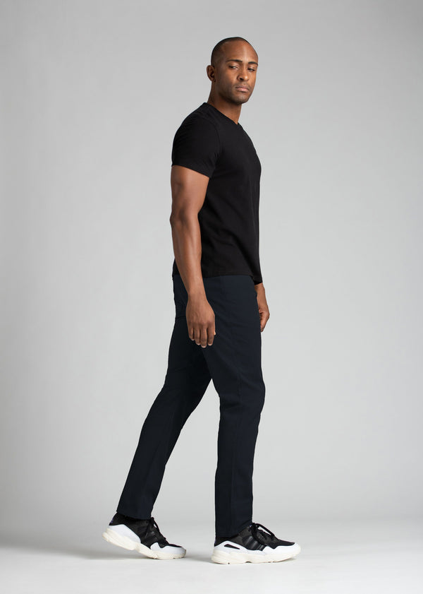 mens navy lightweight pants relaxed fit with black t-shirt