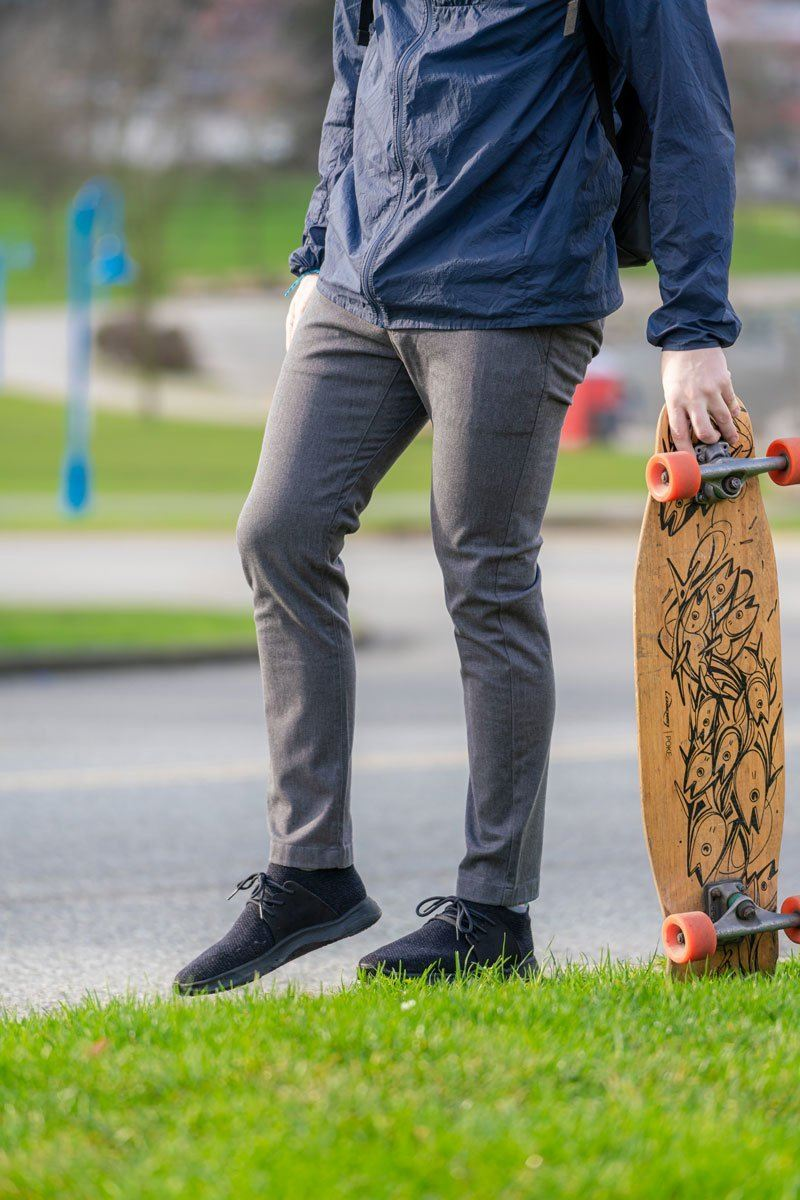 Mens heather grey slim fit summer chinos with skateboard