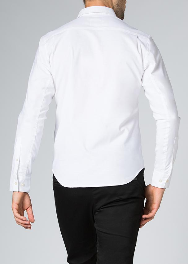 mens stretch dress shirt white back