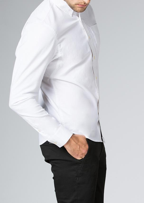 mens stretch dress shirt white side