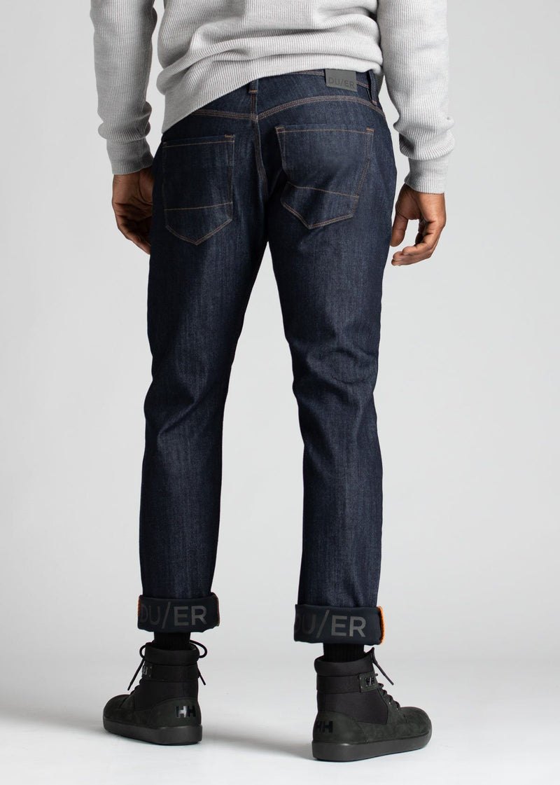 mens dark blue relaxed fit waterproof stretch jeans back
