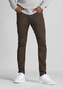 mens dark brown slim fit dress sweatpant front