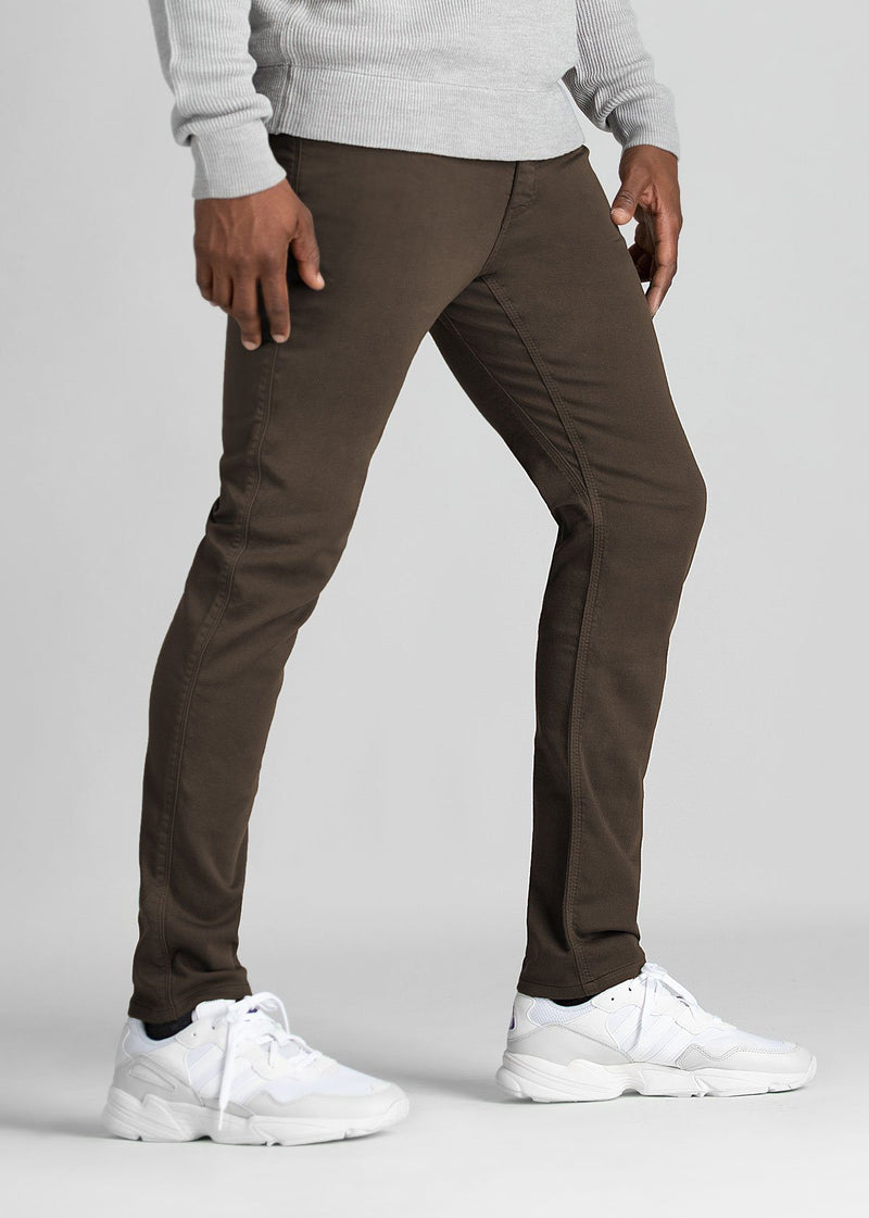 mens dark brown slim fit dress sweatpant side