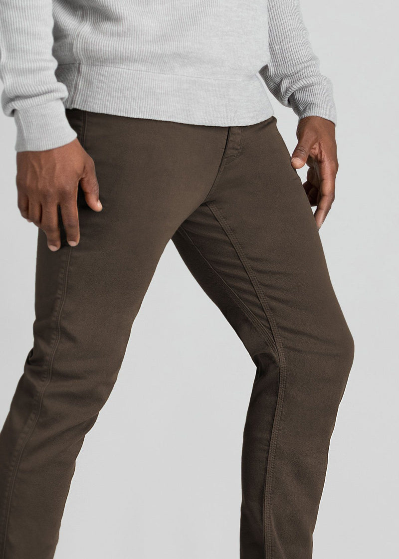 mens dark brown slim fit dress sweatpant side detail