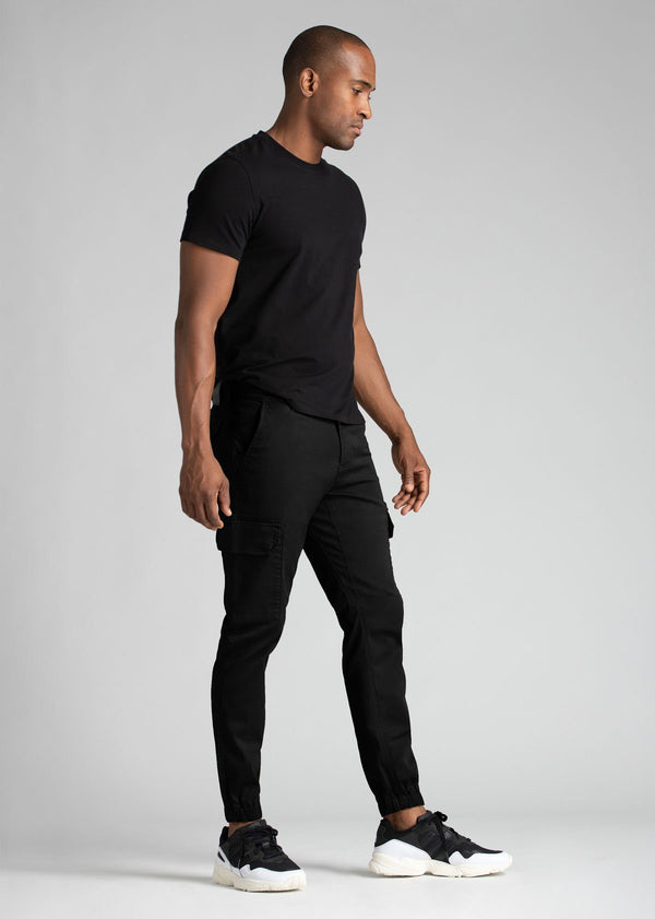 mens water resistant black athletic pants slim full body