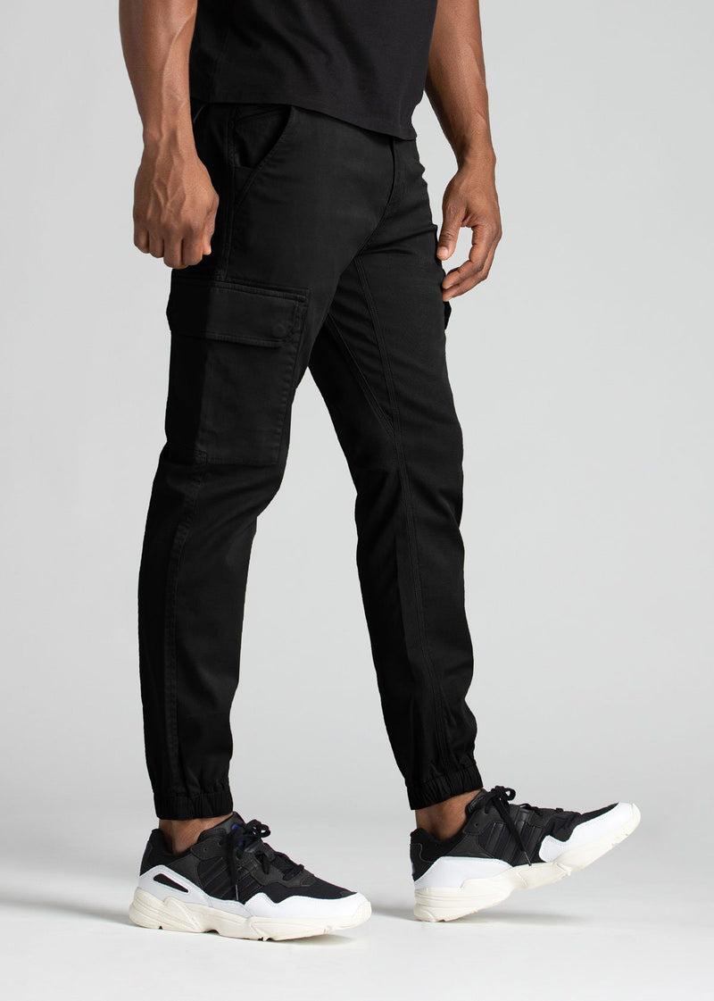 mens water resistant black athletic pants slim side