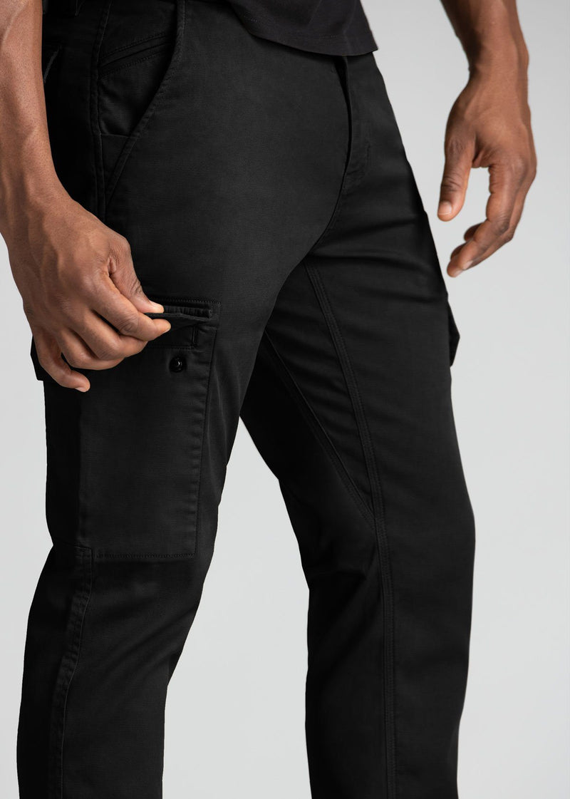 mens water resistant black athletic pants slim side detail