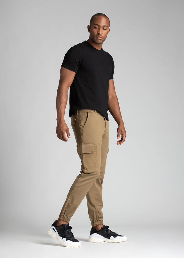 mens water resistant brown athletic pants slim full body