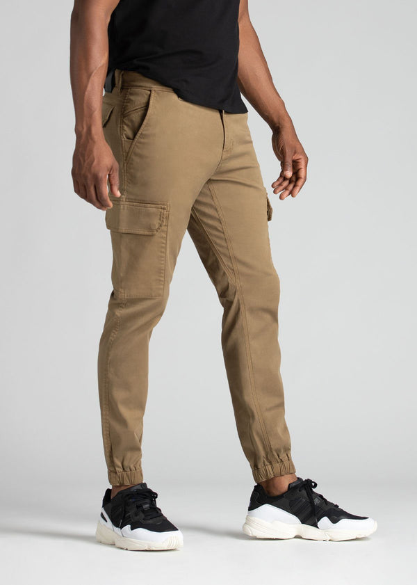 mens water resistant brown athletic pants slim side