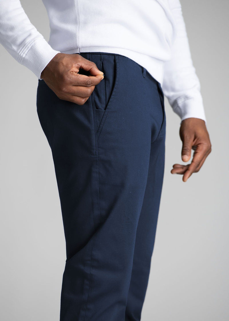 mens navy stretch work pants relaxed detail