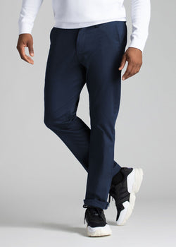 mens navy stretch work pants relaxed front