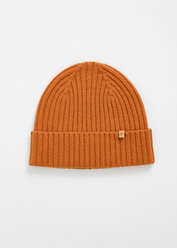 merino rib knit hat in burnt orange flat lay