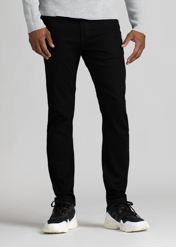 black water resistant slim jeans front view