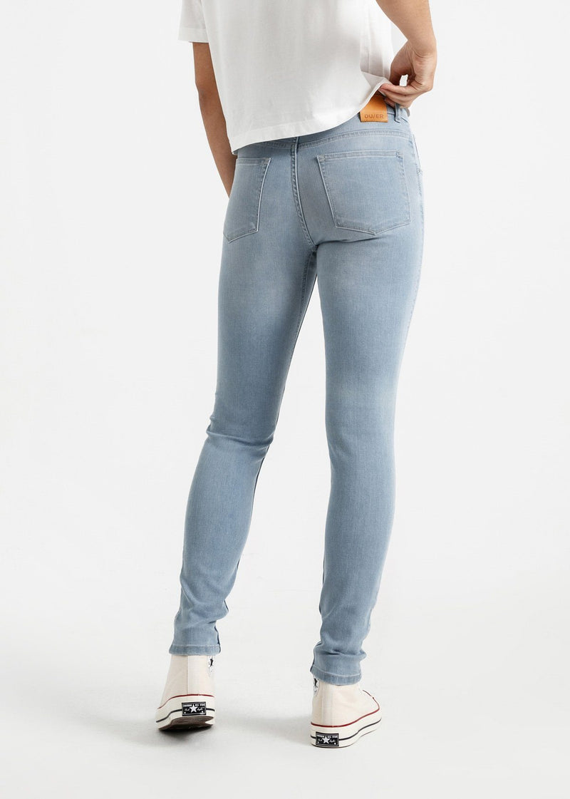 womens light blue mid rise skinny fit stretch jeans back